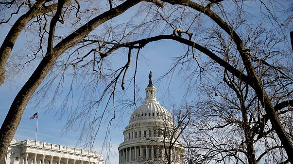 Image: The U.S. Capitol is seen from behind trees after President Donald Tr