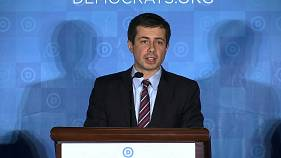 Pete Buttigieg, the mayor of South Bend, Indiana, speaks at the Democratic National Committee Winter Meeting in Atlanta on Feb. 25, 2017.
