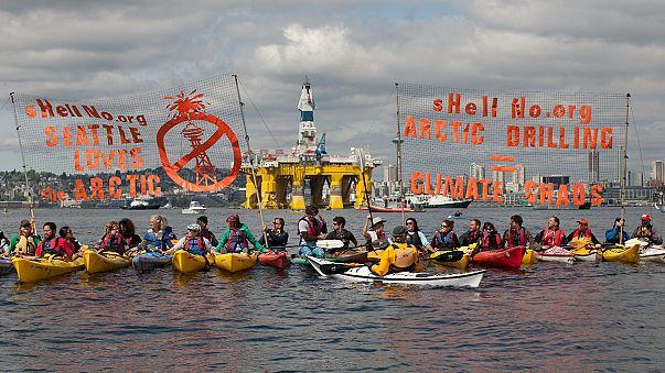 احتجاجات في ميناء سِياتل الأمريكية ضد مشاريع نفطية في القطب الشمالي