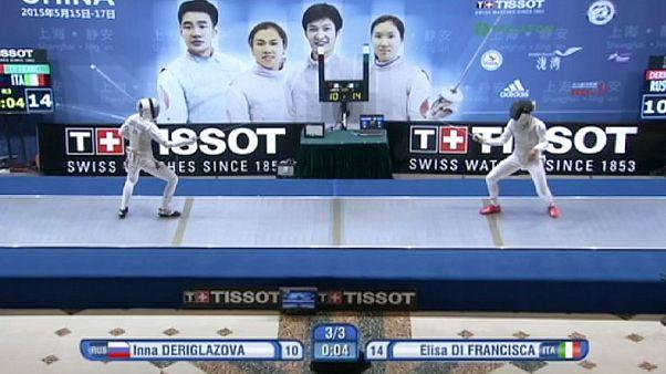 Female foil fencers face off in Shanghai