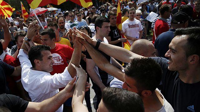 Kormányellenes tüntetés Szkopjéban