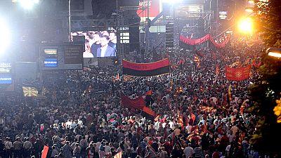 Regierungsanhänger demonstrieren in Skopje