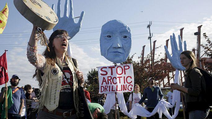 Протесты в Сиэтле против бурения в Арктике