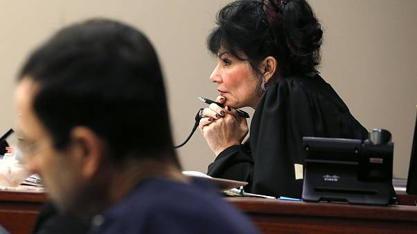 Image: Judge Rosemarie Aquilina watches as Larry Nassar listens to impact s
