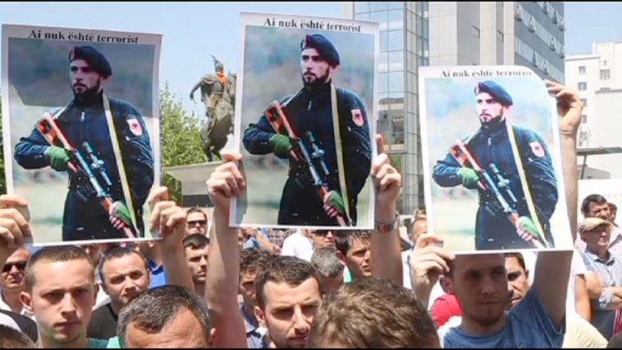 Kosova'da Kumanova tutukluları için destek gösterisi