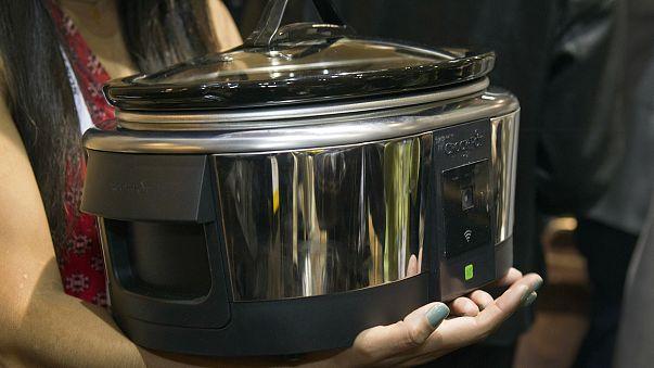 "A Belkin Crock-Pot WeMo Smart Slow Cooker is displayed during ""CES Unveiled"