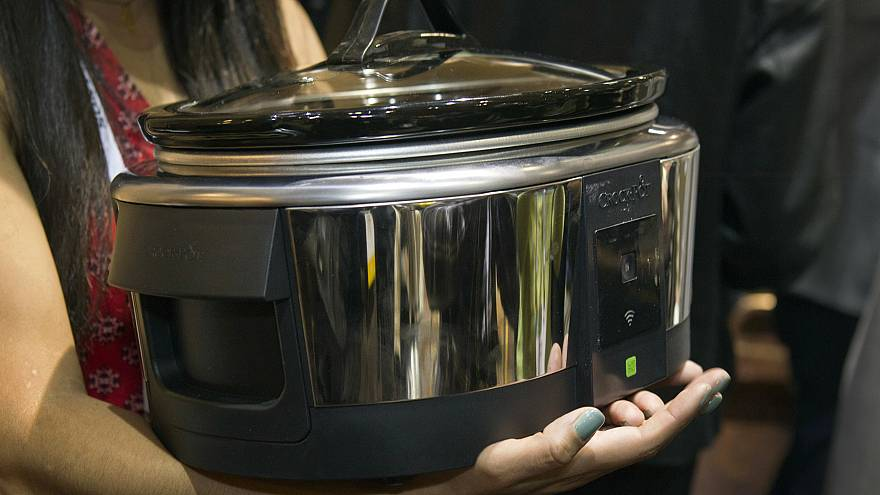 "A Belkin Crock-Pot WeMo Smart Slow Cooker is displayed during ""CES Unveiled"