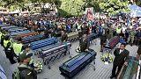 Funérailles des victimes d'un glissement de terrain en Colombie