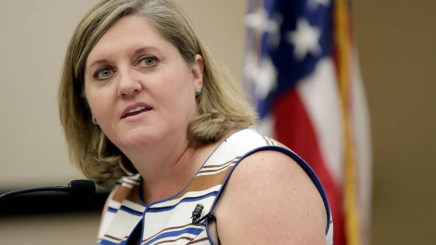Image: Democratic National Committee CEOJess O'Connell speaks during a news