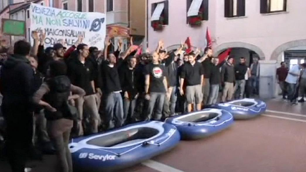 Venice crowd protests against Matteo Salvini's Liga Nord party