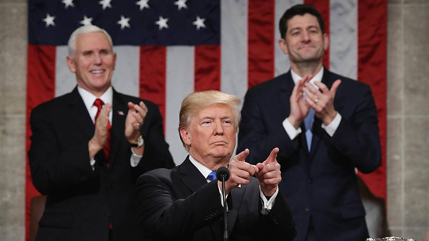 Image: Trump delivers his first State of the Union address in Washington