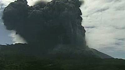 Watch: Volcano erupts on Japanese island