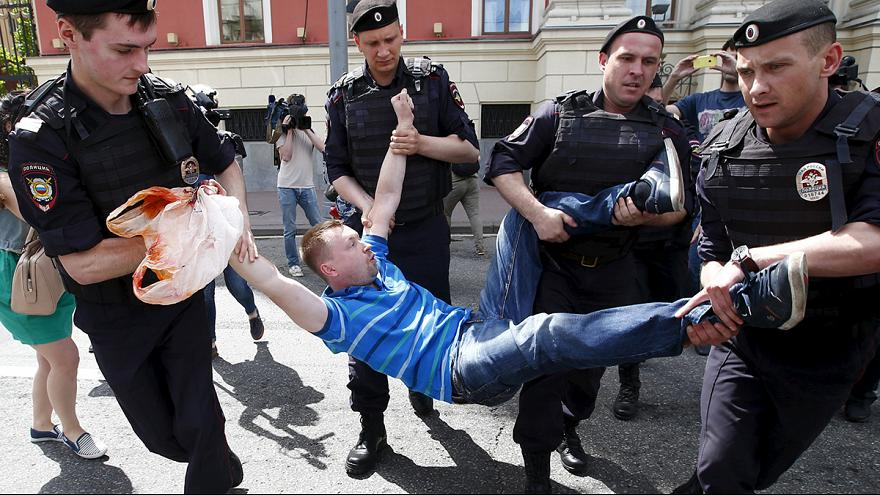 Police break up unsanctioned gay rally in central Moscow