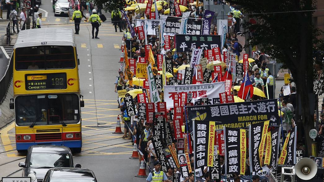 Vier Tage vor Tian'anmen-Jahrestag: Protest in Hongkong