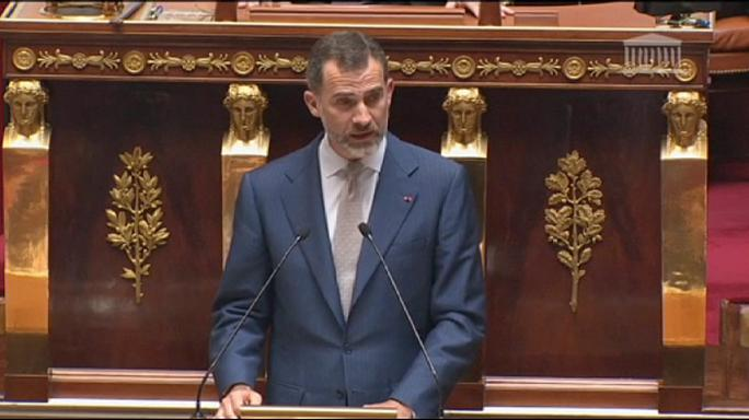 İspanya Kralı 6. Felipe Fransa Ulusal Meclisi'nde konuştu