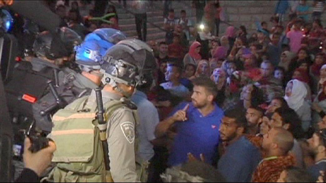Palestinians protest Israeli light festival in East Jerusalem