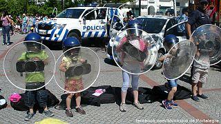 Португалия. Не детские игры: полицейский против... демонстранта