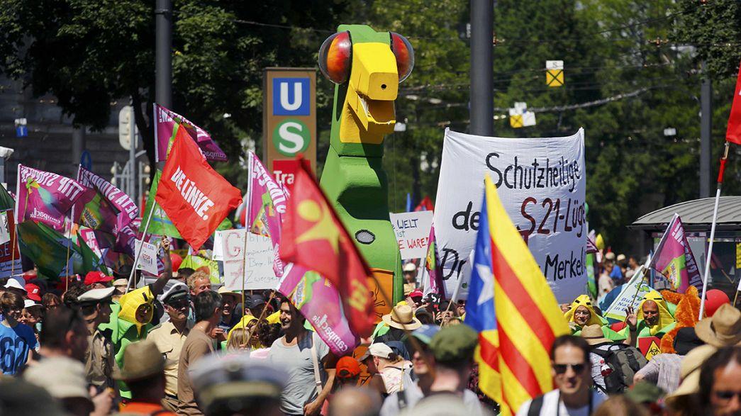 Protesta multitudinaria en Munich contra la cumbre del G7 que comienza el domingo