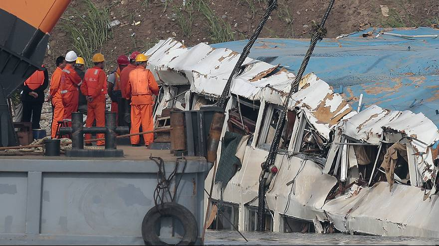 Stricken Chinese cruise ship righted in Yangtze as dozens of bodies brought ashore