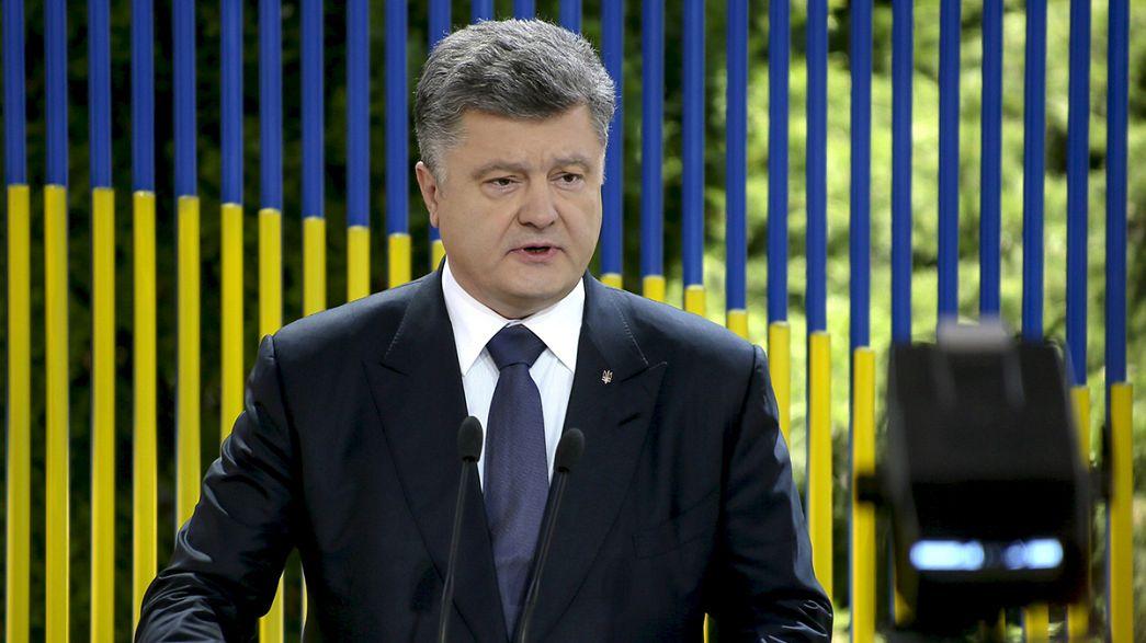 Ukrainian president says embattled town of Maryinka free of separatists