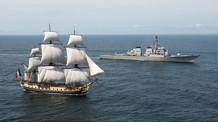 El general La Fayette vuelve a reencontrarse con George Washington