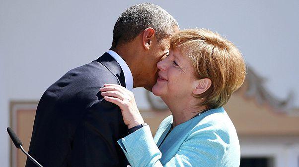 Меркель и Обама встретились с жителями коммуны Крюн