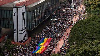 Un millón en el desfile del Orgullo Gay de Sao Paulo