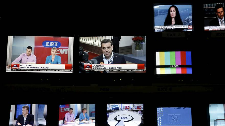 Tears as Greek state TV returns to air after austerity shutdown