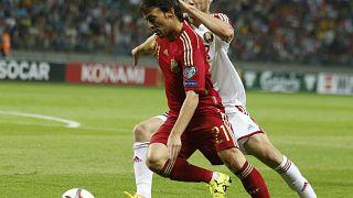 Silva da la victoria a España frente a Bielorrusia