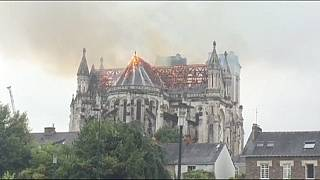 Fire rages at the basilica of Saint- Donatien in Nantes western France