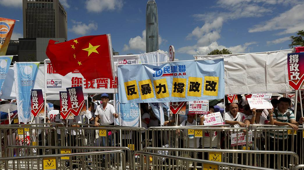 Protesters slam Hong Kong's electoral reform debate as a sham