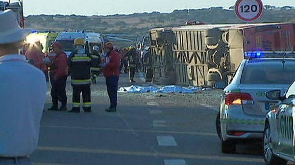 Three dead and dozens injured in tourist bus crash in Portugal