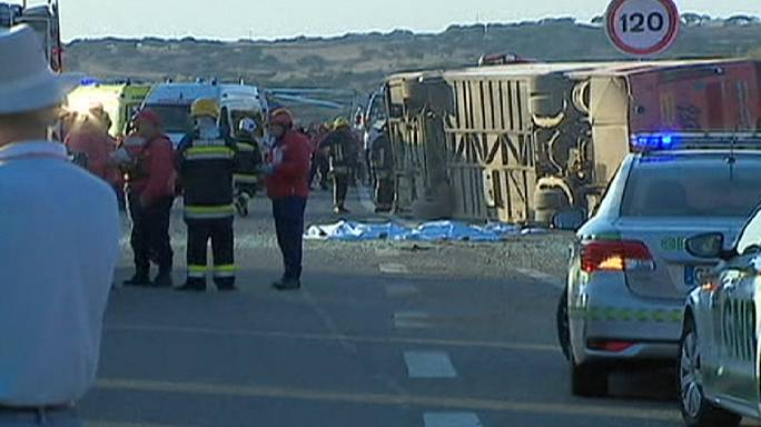 Three dead and dozens injured in tourist bus crash in Portugal