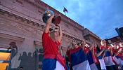 Serbia's celebrate Eurobasket title with fans in Belgrade