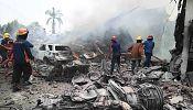 Dozens killed as Indonesian military plane crashes on houses in Sumatra
