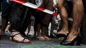 Gay pride celebrated in Madrid with a race in high heels
