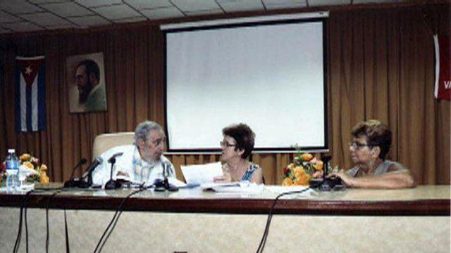 الرئيس الكوبي السابق فيدال كاسترو يظهر في معهد لانتاج الاجبان