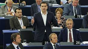 Il premier greco Alexis Tsipras all'europarlamento