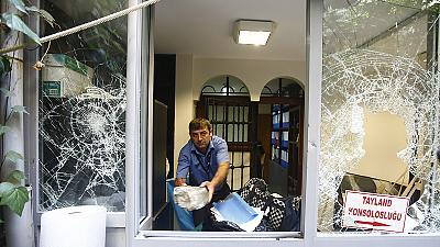 {Watch} Thai consulate in Istanbul attacked in protest over treatment of Uighar Muslims