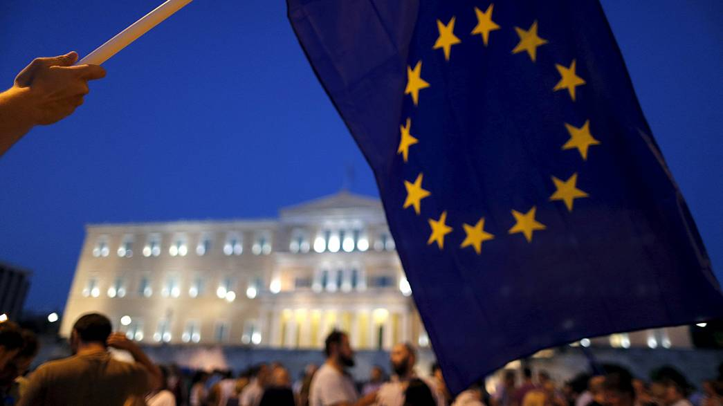 Manifestación proeuropea frente al Parlamento griego