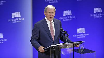 George W. Bush speaks at a forum sponsored by the George W. Bush Institute in New York on Oct. 19.