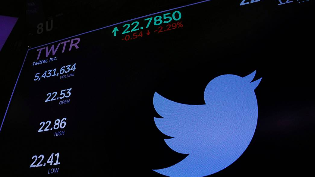 Image: The Twitter logo and stock prices are shown above the floor of the N