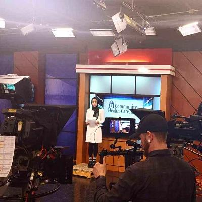 Rahman during her first on-air broadcast for WHBF