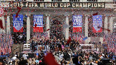 US Women's World Cup winning squad in victory parade in New York