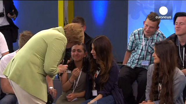 Merkel mocked online over refugee girl's tears