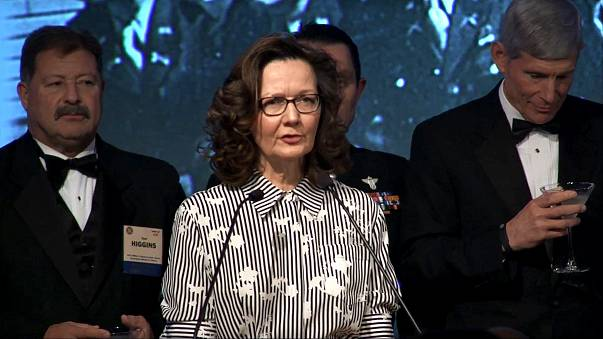 Image: Gina Haspel speaks at the 2017 William J. Donovan Award Dinner, Oct.