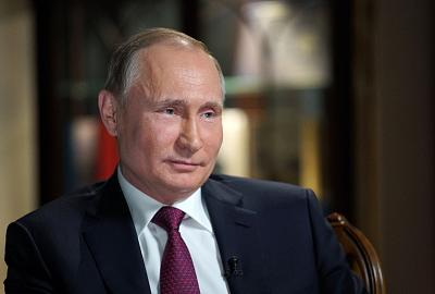 Russian President Vladimir Putin during his interview with NBC network anchor Megyn Kelly at the Kremlin in Moscow.
