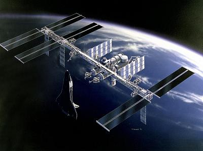 This artist\'s concept created in 1991 depicts the Space Station Freedom as it would look orbiting the Earth.