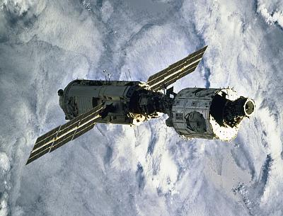 The Zarya Control Module off the ISS after it was mated with the Unity Node, right, in 1998.