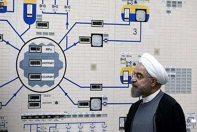 Iranian President Hassan Rouhani visits the control room of the Bushehr nuclear power plant in the Gulf port city of Bushehr, Iran on Jan. 13, 2015.